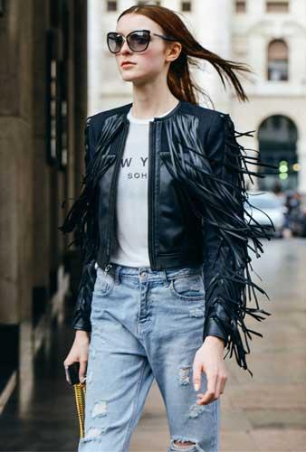 how to wear jeans spring denim fringe jacket